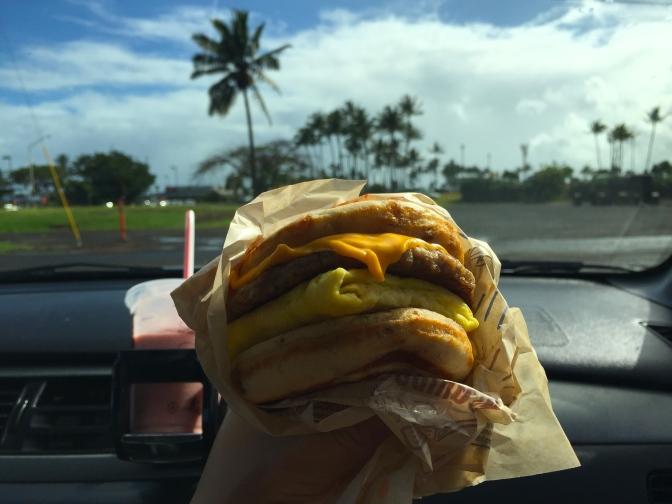 ハワイで朝マック!マックグリドルが美味しい!